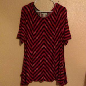 Dana Buchman red and black striped top
